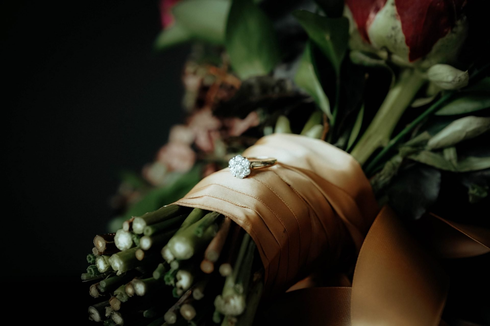 The ring is on the flowers
